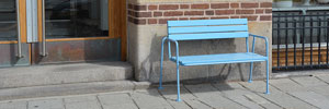 Blå bænk, blue, urban design, bench